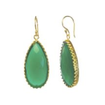Earring Green Onyx Long Drop In Toothed Setting Loose On Hook
