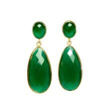 Long Green Onyx Earrings Studs – E13121
