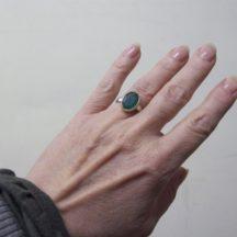 Ovale Groene Onyx Ring R7704-V
