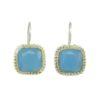 Square Etruscan earrings blue chalcedony E8307