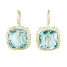 Earrings With Square Facet Aqua Zircon – E8307