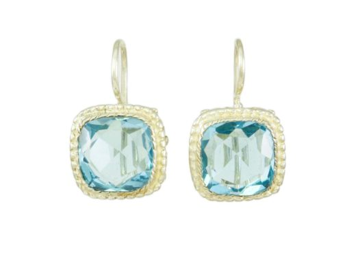 Square Etruscan earrings aqua E8307