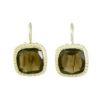 Square Etruscan earrings smokey topaz E8307