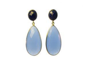 Long Chalcedony And Lapis Lazuli Earrings Studs – E13121
