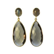Long Smokey Topaz And Labradorite Earrings Studs – E13121