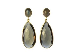 Long Smokey Topaz And Labradorite Earrings Studs – E13121