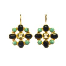 Hermitage Replica Earrings Onyx, Turquoise And Citrine – E7702