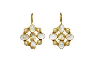Hermitage Replica Earrings Rose Quarts, Moonstone And Pearl – E7702