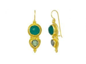 Asian Etruscan Green Onyx And Labradorite Earrings – E8917