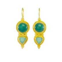Asian Etruscan Green Onyx And Chalcedony Earrings – E8917