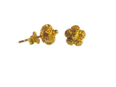 Aziatisch Traditioneel westers Etruskisch oorbel E9531-V-knopje