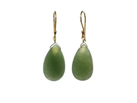 Platte druppel oorbellen glad cabochon geslepen jade E1415-V