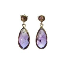 Silver Classic Amethyst Tear Drop Stud Earrings – E1324