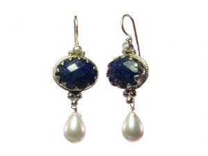 Antique Replica Chic Earring Lapis Lazuli And Pearl – E1302