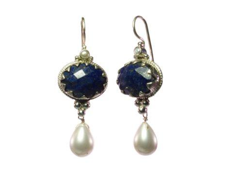 Antique lapis lazuli en parel E1302-Z