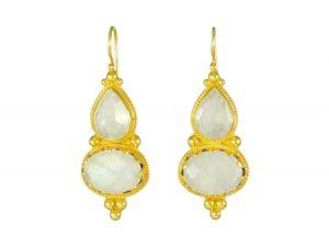 Etruscan Long Earring Rose Quarts And Moonstone – E1317