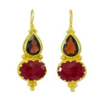 Etruscan Long Earring Garnet And Ruby – E1317