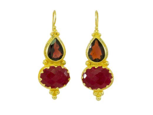 Etruscan inspiration garnet and ruby E1317-V