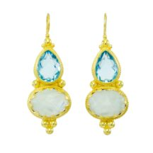 Etruscan Long Earring Aquazircon And Moonstone – E1317