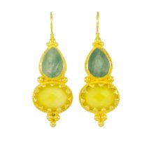 Etruscan Long Earring Jade And Yellow Onyx – E1317