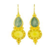 Etruscan Long Earring Jade And Yellow Onyx – E1317