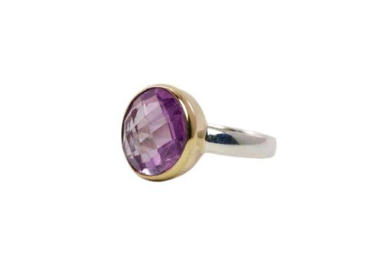 Checkar cut amethist ring R8910