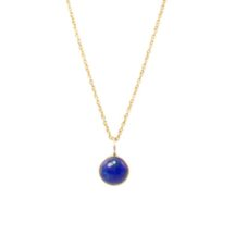 Gold Pendant Lapis Lazuli Round Drop In A Fine Setting – P1005