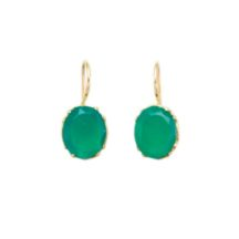Earring Gold With Facet Cut Green Onyx – E9509