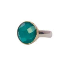 Round Green Onyx Ring In Gold Setting – R8910