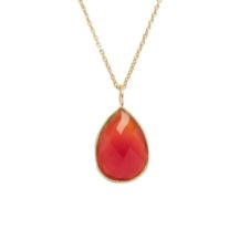 Gold Pendant Facet Cut Carnelian – P1008