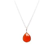 Silver Pendant Carnelian Tear Drop In A Fine Setting – P1006