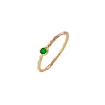 Emerald 14k Gold Fine Thin Skinny Ring – R1555