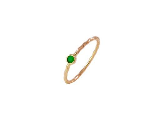 Handgemaakte 18k gouden ring met een smaragd R107-G