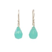 Aqua Chalcedony Pear Drops Silver Earrings – E1290