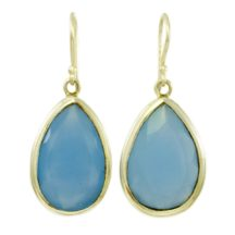 Earrings Blue Chalcedony Teardrops – E6913
