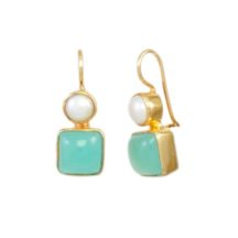Classic Earring Chalcedony And Pearl – E7707