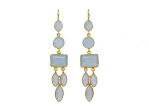 Long Gemstone Earrings With Blue Chalcedony – E1048