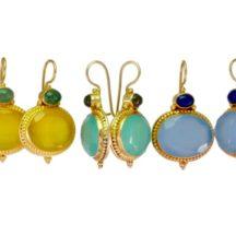 Geel, Aqua En Blauwe Chalcedoon Etruskische Oorhangers E9516