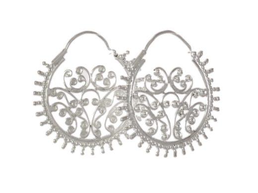 Filigree zilveren creeol oorhangers E7711
