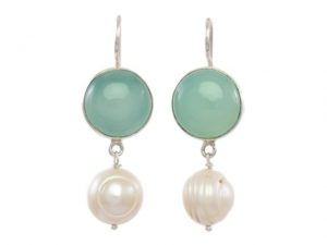 Simple Round Chalcedony Silver Earrings With Natural Pearl –  E1012