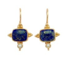 Asian Etruscan Earrings Lapis Lazuli And Pearl – E1432