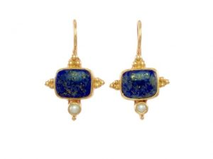 Asian Etruscan Earrings Lapis Lazuli And Pearl – E1432
