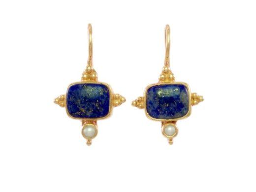 Aziatisch Etruskisch versierd lapis lazuli en parel oorhangers - E1432