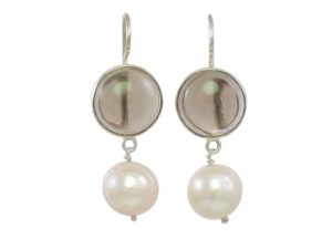 Simple Round Smokey Topaz Silver Earrings With Natural Pearl –  E1012