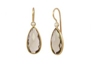 Smokey Topaz And Pearl Drop Earrings – E13114