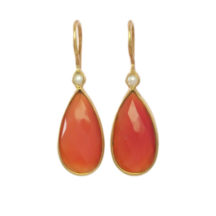 Carnelian And Pearl Drop Earrings – E13114