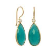 Green Onyx And Pearl Drop Earrings – E13114