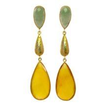 Long Studs Jade And Yellow Onyx  – E1384