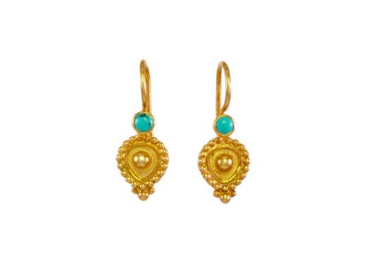 Etruskische oorhangers turkoois E1602