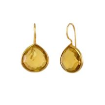 Small Fat Gold Plated Drops Citrine – E1242